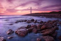 Purple lighthouse scene